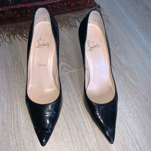Christian Louboutin patent leather point toe pumps